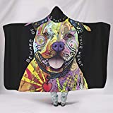 Dog Art Functional Multiple Patterns Hooded Blanket Make People Sleep Well for Couch Sofa Bed in Winter Casual Style White 60x80 inch
