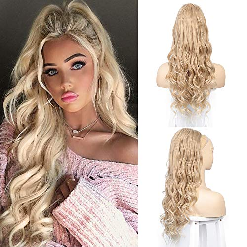 Drawstring Ponytail Extension Long Curly Wave Synthetic Ponytail Hair Extension Clip in Ponytail Hairpiece for Women (24/613)