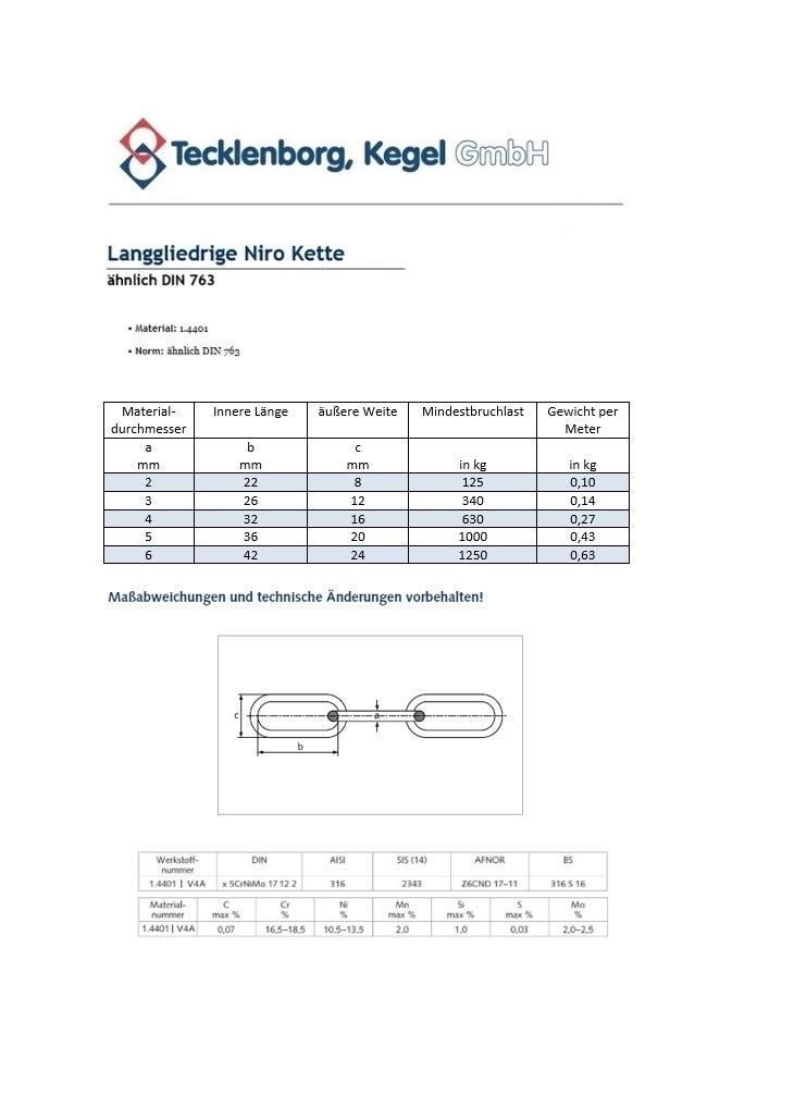 10 mm 0,5 bis 18 m rostfreie langgliedrige V4A Edelstahlkette Regenablaufkette