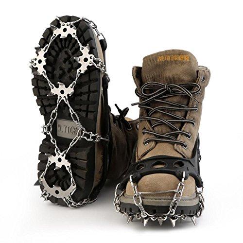 Baisde Crampones de Hielo 18 Garras de Dientes de Acero Inoxidable Zapatos Antideslizantes Cubierta para Nieve de esquí al Aire Libre Senderismo Escalada