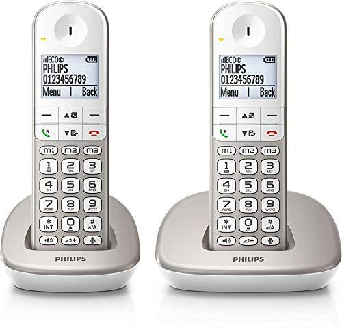 Philips XL4901S / 23 - Pack 2 Schnurlostelefone (16 Stunden, Headset kompatibel, Direktwahl, freihändig, 2 Nummern pro Kontakt, rutschfest, Noise Reduction) Weiß/Gold
