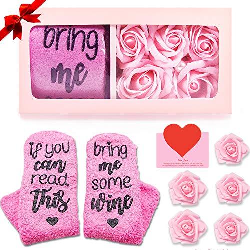 AYUQI Flor Artificial,Regalos para Mujer, Flor de Rosa de Jabón Hecha a Mano y Calcetines de Vino,Regalo para Esposa,Novia, Madre en su Cumpleaños, día de la Madre, día de San Valentín, Aniversario