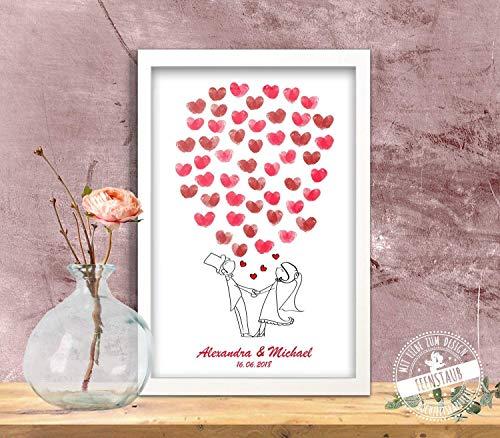 Wedding-Tree Comic Brautpaar Luftballone, Gästebuch-idee Leinwand für Fingerabdrücke Hochzeit