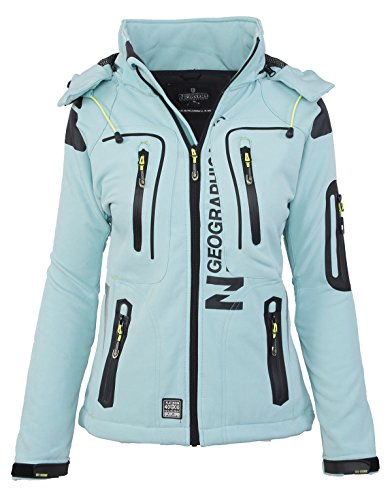 Geographical Norway Damen Softshell Funktions Outdoor Regen Jacke Sport [GeNo-20-Aqua-Gr.M]