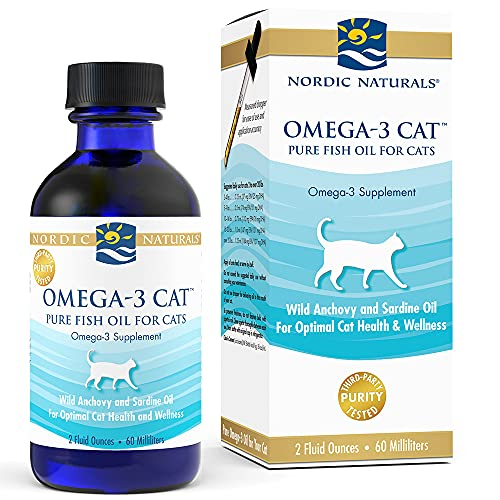 Nordic Naturals Omega-3 Cat  Unflavored - 304 mg Omega-3 Per One mL - 2 oz - Fish Oil for Cats with EPA & DHA - Promotes Heart  Skin  Coat  Joint  & Immune Health - Non-GMO