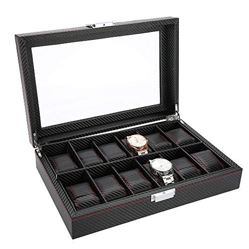 Brrnoo 12 Cuadrículas Caja de Almacenamiento de Relojes, Cuero de PU Vitrina de Joyería