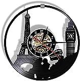 WJUNM Orologio da Parete in Vinile Paris London Travel Theme Vinyl Record Sound Quartz Wall Clock Tower Big Ben Clock Tower Unique Travel Landmark Orologio Stile retrò Guidato