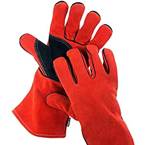 Durable protection for hands and forearms in even the most extreme conditions. Handle hot objects and tools safely with heat and flame resistant treated leather, reinforced double layered palms, and extra-long gauntlet cuff gloves Comfortable feel wi...