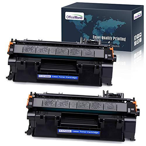 Büro World Kompatible Toner Ersatz für HP 80A CF280A (schwarz, 2er), Arbeit mit Laserjet Pro 400M401N M401dne M425dn M401DW M401DN M425dw