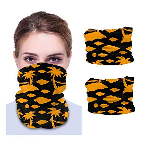 SLHFPX Coconut Palm Trees Halloween Orange Neck Gaiter Face Mask Set of 2 Bandana Anti-Dust Marks Windproof Neck Warmer for Outdoor Sports