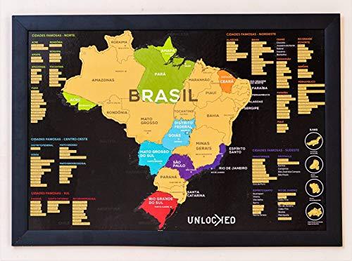 Mapa do Brasil de Raspar 66x46 CM | Unlocked | Com moldura | Scratch off Brazil Map | Mapa Raspadinha