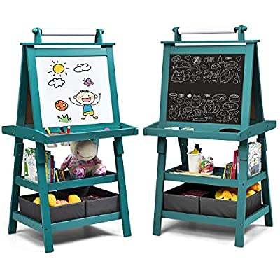 Costzon Kids Art Easel, 3 in 1 Double-Sided Storage Easel w/Whiteboard, Chalkboard & Paper Roll, 2-Tier Rack w/ 2 Storage Boxes, Large Capacity Tool Tray for Toddlers by Costzon