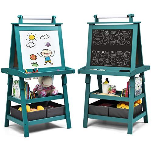 COSTWAY 3 in 1 Kinder Staffelei, Kindertafel doppelseitig, Whiteboard & Kreidetafel & Zeichenpapier, Standtafel inkl. Magneten, 2 Regalebenen Holztafel mit 2 Aufbewahrungsboxen (Blau)