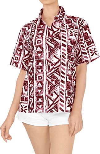 LA LEELA hawajska bluzka   krótki rękaw   bluzka na imprezę plażową   lato na co dzień   luźny aloha   damska koszula robocza   XS - 3XL   bawełna   nadruk UT_3739