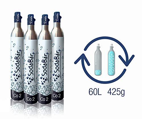 SodaBär© Der kompatible CO2-Zylinder für alle Geräte | Praktische Tausch-Box 4 x 425g (60 l) > Volle Zylinder bekommen > leere zurück schicken Größe 1. Standard/Universal