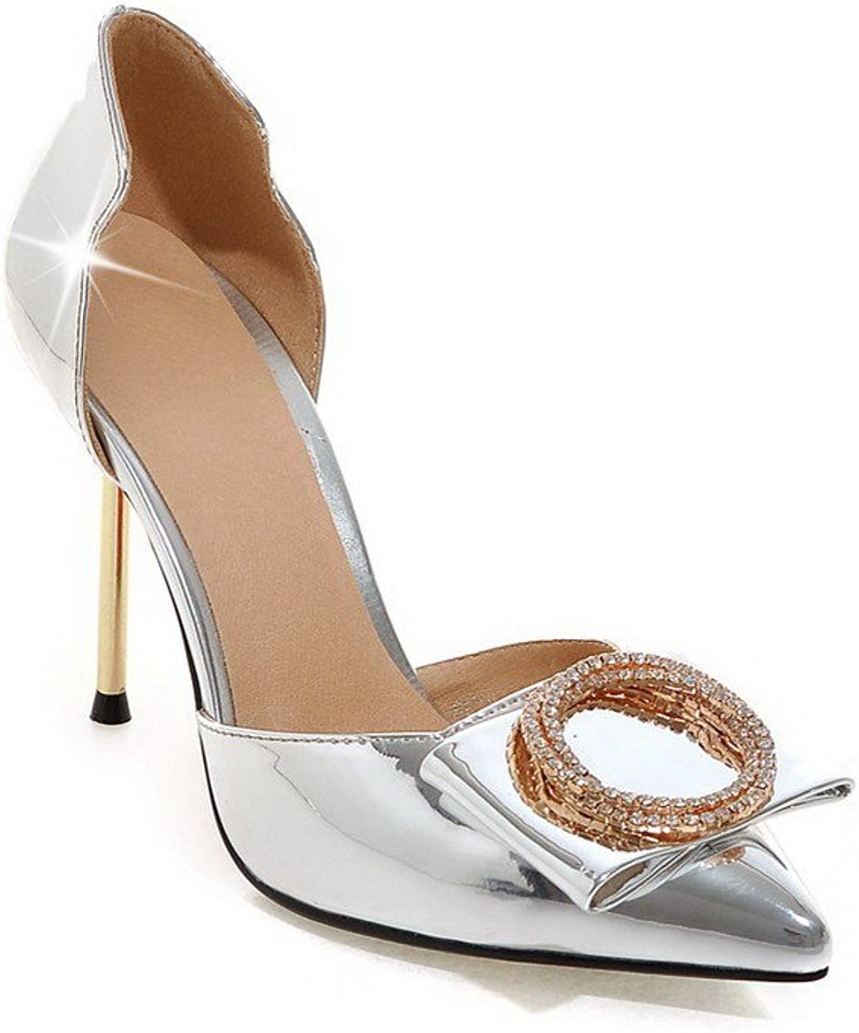 AmoonyFashion Women's High-Heels Solid Pull-on Patent Leather Pointed-Toe Sandals