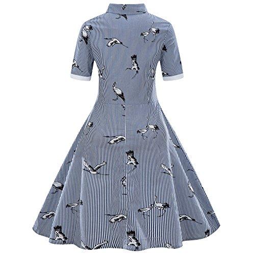 BaronHong Dames Plus Size zomer revers korte mouwen strepen vogel bedrukt elegante flare dress