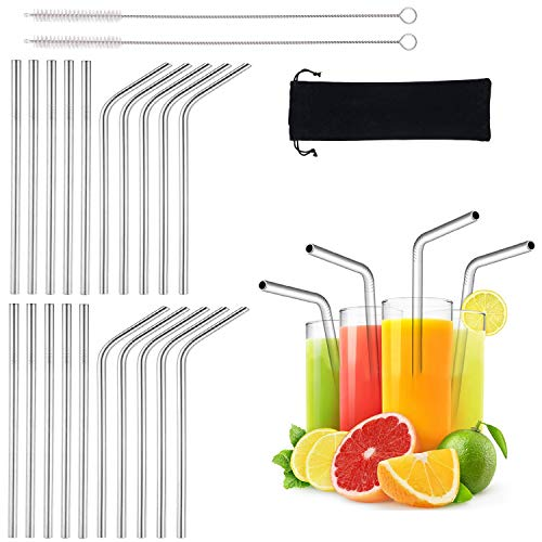 20 Pack Reusable Stainless Straws 6-inch Short Drinking Straw Stainless Steel Portable Straw for Cocktails Travel Kid Metal Cocktails Straw With Cleaning Brush and Carry Bag