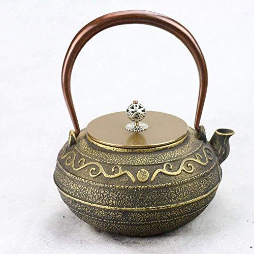 DZNOY Potes de té Tetera de Hierro Fundido Caldera de Grano Antiguo Estilo Estilo Fondo Plano para la Estufa de carbón Cocina de Inducción Retro Tetera (Color : Retro)