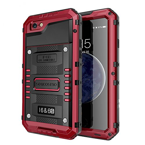 seacosmo iPhone 6/6S Case, Military Grade IP68 Waterproof Dustproof Shockproof Full Body Sealed Underwater Case with Built-in Screen Protector Heavy Duty Metal Rugged Case for iPhone 6/6S, Red