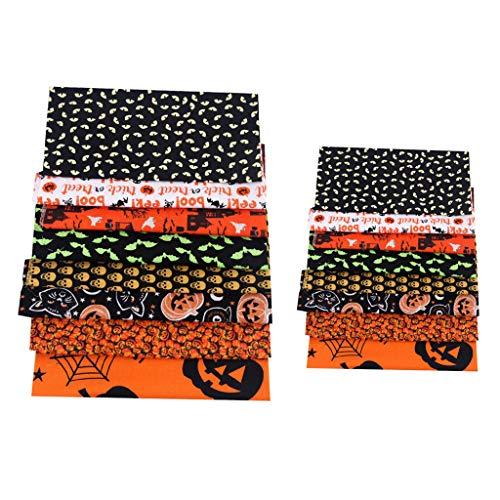 Milageto 16 Piezas de Tela de Algodón de Halloween para Costura DIY Patchwork, Vestido, Máscara, Mantel