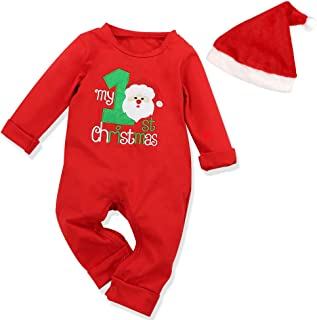 Christmas 2Pcs Outfit Set Baby Girls Boys My First Christmas Rompers