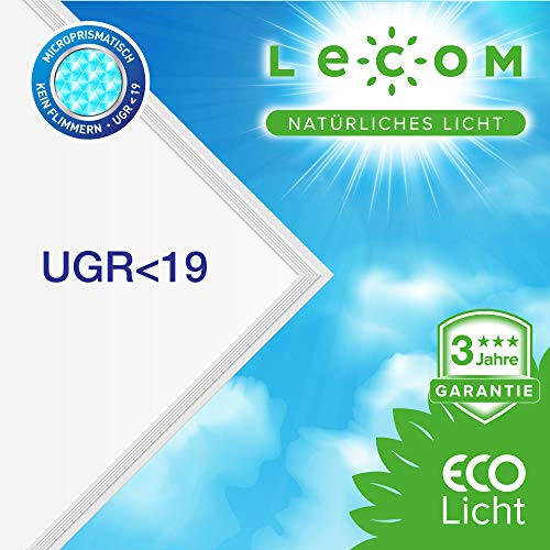 LECOM LED Panel 62x62 UGR<19 kein Flimmern Farbwiedergabeindex CRI:>90 Deckenleuchte Neutralweiß 4000K. Büro. Zertifiziert.