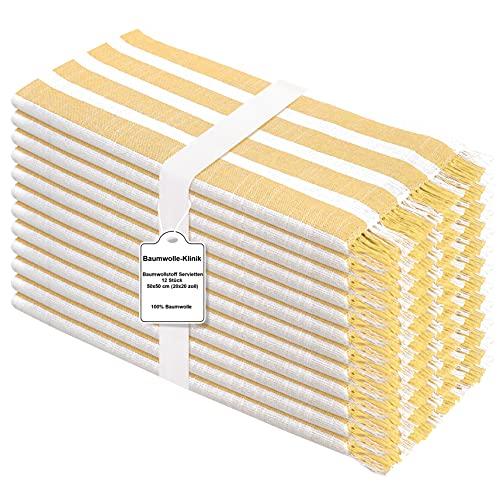 Baumwolle-Klinik Paquete de 12 Servilletas de Tela 50 x 50 cm, Servilletas de 100% Algodón, Calidad de Hotel Duradera, para Eventos y Uso Doméstico Regular Amarillo Blancas
