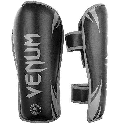 Venum Challenger Shinguards - L/XL, Black/Grey, Large/X-Large