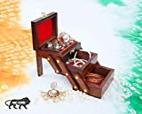 RARE AVENUES Wooden Jewellery Box - With 3 Expandable Jewellery Boxes, Can Be