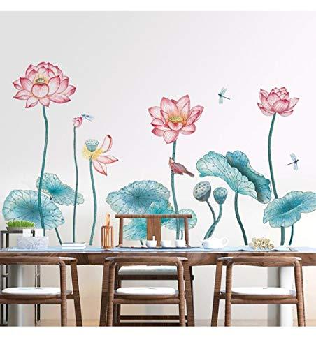 U/N Estilo Chino Encanto Lotus Etiqueta de la Pared decoración del Dormitorio Sala de Estar TV sofá Fondo decoración de la Pared autoadhesivo149x85cm