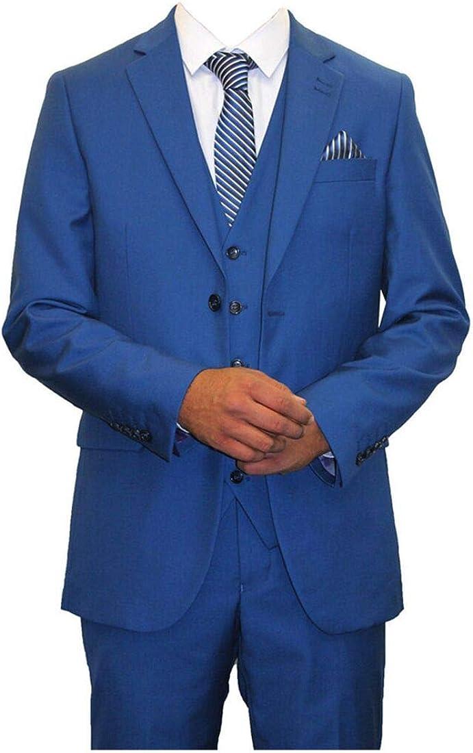 QZI Men's Notch Lapel Two Buttons 3 Pieces Wedding Suit for Men Groom Tuexdos