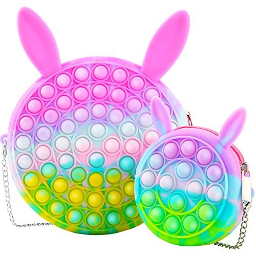 2 Pack Pop Purse Shoulder Bag Fidget Toys, Rainbow Silicone Pop Fidget Bag Halloween Treat Bags,...