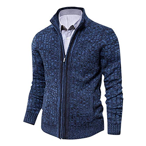 Mens Cardigan Sweater Slim Fit with Full Zip and Pockets (Dark Blue,Medium)
