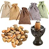 Sntieecr 100 PCS Mixed 5 Natural Scents Backflow Incense Coneswith Mini Backflow Incense Burner Holder, Each Incense 20 Cones with Agarwood, Sandalwood, Wormwood, Thuja and Natural Indian Incense