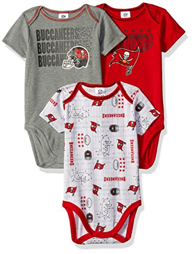 NFL Tampa Bay Buccaneers Unisex-Baby 3-Pack Short Sleeve Bodysuits, Red, 0-3 Months