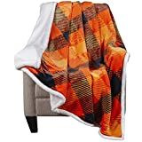 Malinad Plaid Throw Blanket - 50x60 Orange, Yellow & Black - Printed Buffalo Flannel Fleece & Sherpa – Soft, Cozy, Warm - Perfect for Bed, Sofa, Couch