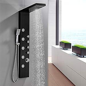 BONADE Panel de Ducha Negro Columna de Ducha Cascada con Ducha de Mano y 5 modos de Chorro Hidromasaje Sistema de Ducha de Acero Inoxidable para Baños