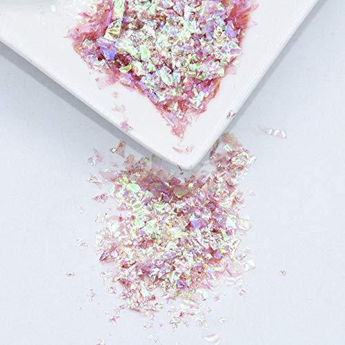 20g / Pack Coquille de Papier Coquille Irrégulière Paillettes Nail DIY Paillettes Colorées Nail Art Paillettes pour Décoration Nail Art 3D, AB Rouge, 20g