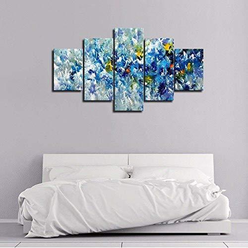 HKDGHTHJ Sala de estar dormitorio lienzo pintura mural 150x80cm Resumen azul hermoso flores Lienzo modular impresiones cartel habitación decoración del hogar 5 piezas pintura arte de la pared imágenes