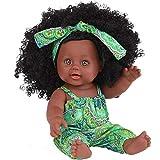 OEIGCI bébé Noir Africain Noir Mignon bouclé Noir 12 Pouces Vinyle bébé Jouet Noir poupées Mode Fille Africaine poupées réaliste bébé Jouer poupée pour Enfants Parfait pour Cadeau d'anniversaire