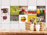 GRAZDesign 770497_15x15_FS10st Fliesenaufkleber Küche Obst und Gewürze Set | alte Küchen-Fliesen überkleben | Fliesenbild selbst gestalten (15x15cm // Set 10 Stück)