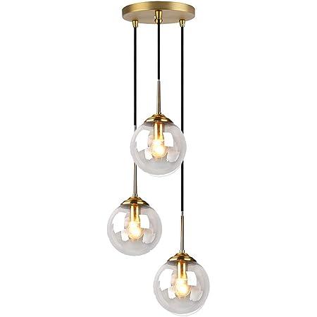 MZStech Industriel Rétro Loft 3 Voies Suspension, Cluster Lustre Suspendu Lampe Luminaire En Laiton Raccords avec Verre Globe abat-jour (Clair)