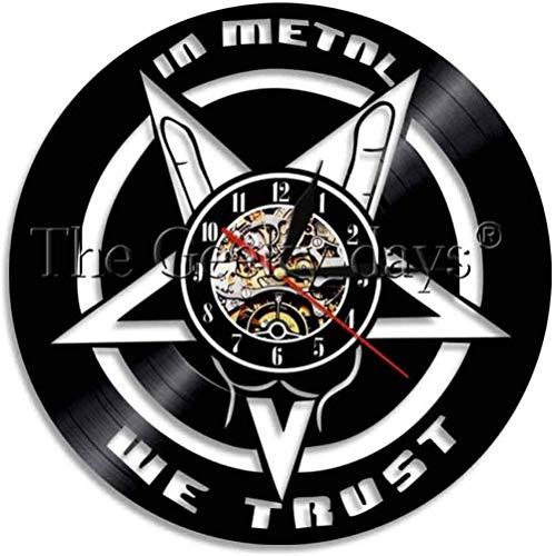 ZYBBYW Cree en la música para Proporcionar Reloj de Pared Heavy Metal Disco de Vinilo Reloj de Pared iluminación Ambiental decoración de Rock Mural