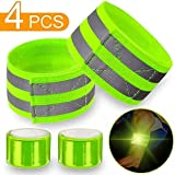 4 pcs Reflective Bands for Wrist, Arm, Ankle, Leg. High Visibility Reflective Gear for Night Walking, Cycling...