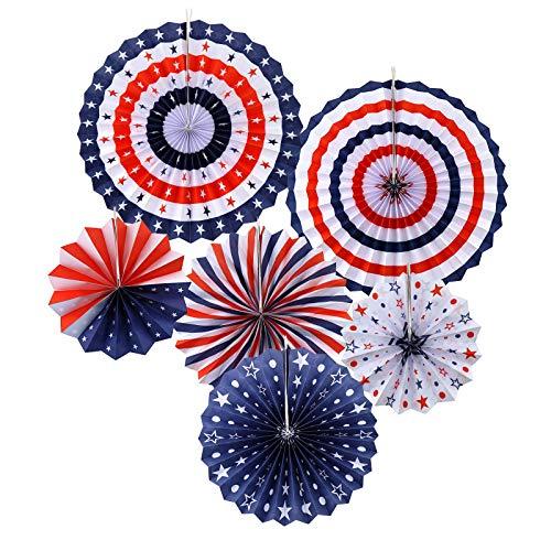 BIYM - Lote de 6 Adornos patrióticos de Papel para decoración de Presidentes Day Independencia Presidente Memorial Day Party