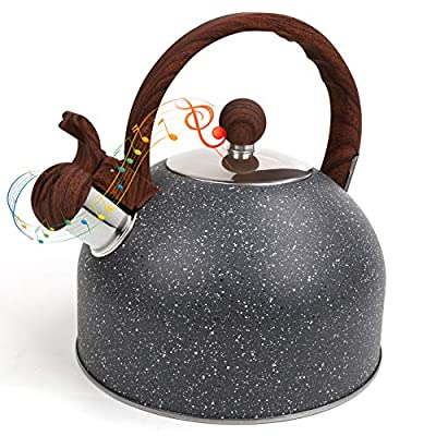 Flantor Tea Kettle,2.5 Quart Whistling Teapot Tea Kettles with Wood Pattern Anti-Hot Handle,Food Grade Stainless Steel Whistle Tea Pot Water Kettle for Stovetops (Grey)
