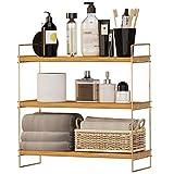 Regal aus Kiefern-Holz mit DREI Böden Ablage Deko modern Industrial Design Edelstahl vergoldet rostfrei