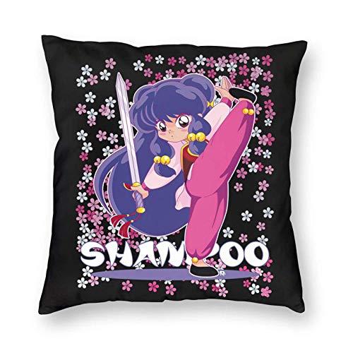WH-CLA Throw Pillow Covers Shampoo Ranma Throw Pillow Fundas Regalo Coche Cama Personalizado Oficina Decoración para El Hogar Sofá Cuadrado Ropa De Cama Cremallera Anime 45X4