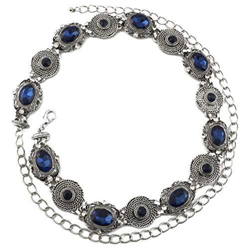 MLHXHX Cadena de cintura de cristal artificial para vacaciones, ocio, playa, diamantes incrustados en la cintura, color azul